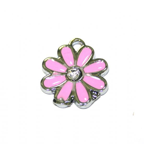1pce x 17*17mm rhodium plated pink daisy with  rhinestone enamel charm - SD03 - CHE1253